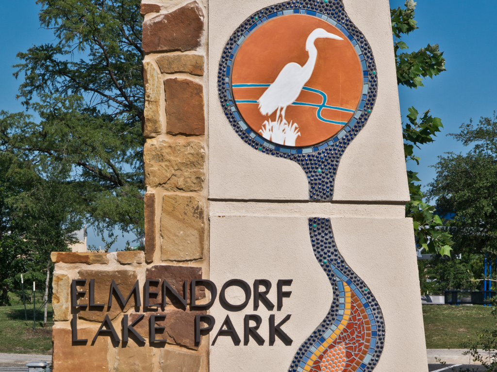 mosaic signpost at elmendorf lake in elmendorf, tx